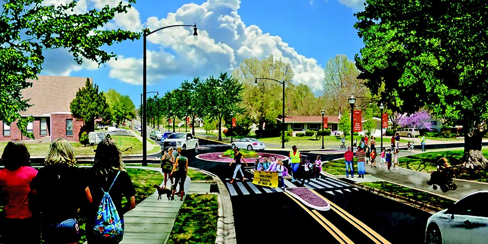 architectural rendering of possible roundabout at the intersection of Grant and Portland