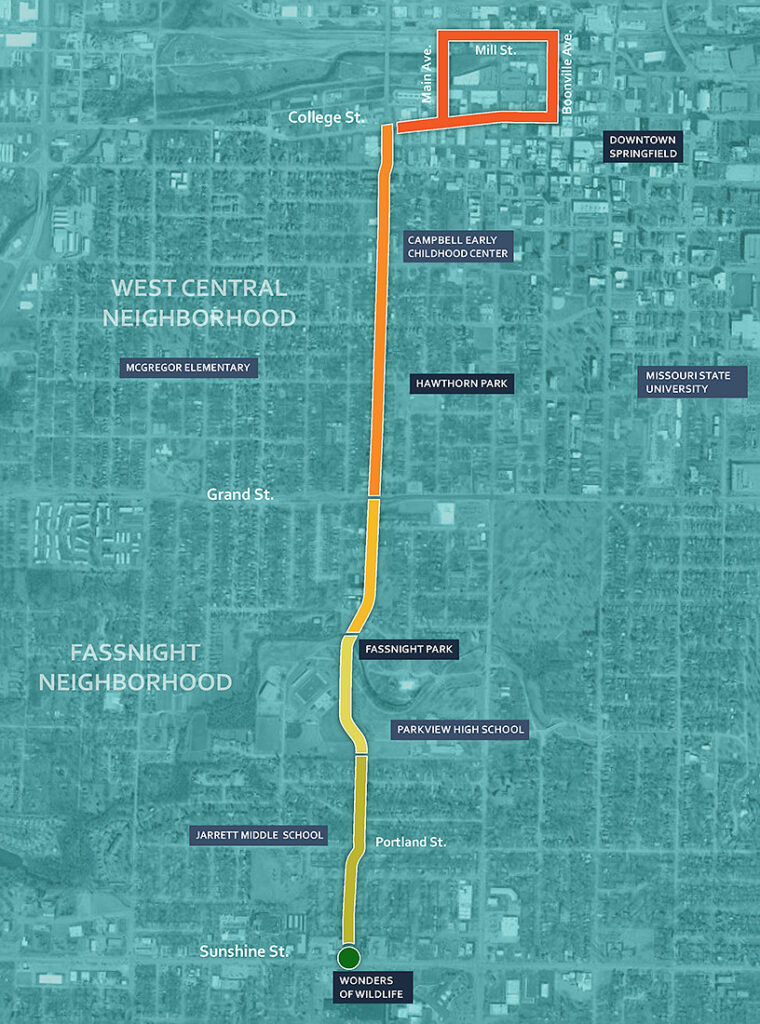 Map of the proposed Grant Avenue Parkway route.
