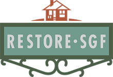 little rust colored house graphic with sign reading restore s g f